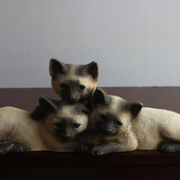Siamese Cats Corner Cat Sculpture Plaque, Vintage Young Concepts, Inc. Resin Wall Door Shelf Sitter Blue Eyes Kittens