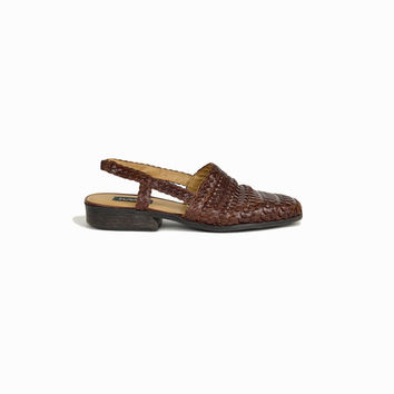 Woven Leather Shoes / 90s Leather Slingbacks / Woven slingback mules - women's 8.5