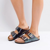 Birkenstock Arizona Birko Shiny Snake Flat Sandals at asos.com