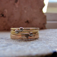 Rustic solid gold wedding band set with engagement rings