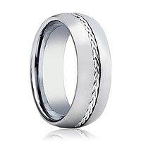 Men's Domed Tungsten Wedding Band with Sterling Silver Braided Insert Center - 8MM