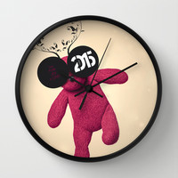 Little Pink Bear said :: Happy New Year 2015 :) '' Wall Clock by LilaVert