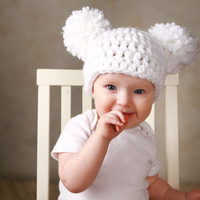 Baby Girl Christmas Hat Chunky White Crochet Knit Infant Double Pom Pom Beanie Photography Prop