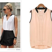 V-Neck Sleeveless Casual Chiffon Blouse