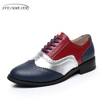 Cow leather big woman US size 11 designer vintage shoes round toe handmade red blue 2017 oxford shoes for women with fur
