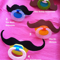 Mustache Pacifiers Set of 2 by Dressupcastle on Etsy
