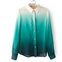 Block Long-Sleeve Button Collar Shirt