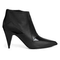 Pierre Hardy Kid Shiny Geometric Pointy Toe Bootie With Cone Heel  - ShopBAZAAR