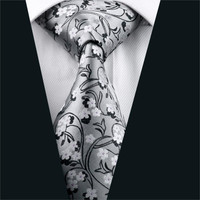 Mens Ties Gray Floral Neck Tie 100% Silk Jacquard Ties For Men Business Wedding Party