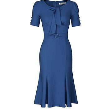 1950's Style Short Sleeve Mermaid Dress, Size Medium (Navy Blue)