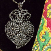 Portugal Folk silver filigree Viana heart necklace Portuguese jewelry Heart of viana big heart pendant