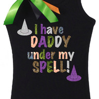 Halloween, Witches Hat, Daddy Under My Spell, Baby Girls, Girls Clothing, Girls, Tank, Top, Shirt, Party, #1, Birthday, Costume, Holidays