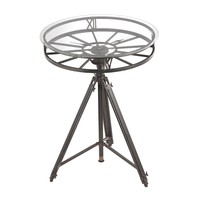 Tripod Round Clock Side Table Black