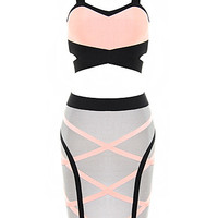 Two Piece Ink Black and Salmon Pink Good Charms Bandage Dress