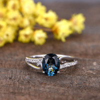 1.2 Carat Oval London Blue Topaz Engagement Ring With Diamond 14k White Gold Curved Split Shank