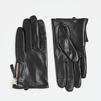 ASOS Leather Gloves With Zip And Touch Screen Detail