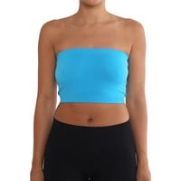 Women's Strapless/Seamless Tube Top Bandeau - Turquoise