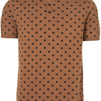 Camel Polka Dot Knitted T-Shirt - New Clothing  - New In