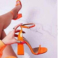Fashion hot women's sandals painted orange thick high heels