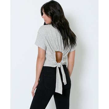 Reflecting Back Stripe Crop Top - Ivory/Black