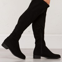 Over The Knee Flat Boots in Black