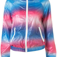 Blue and Pink Spray Bomber Jacket - Topshop USA