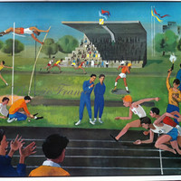 Original Vintage French Poster  1960 Stadium Athletes and Circus Double Sided Poster