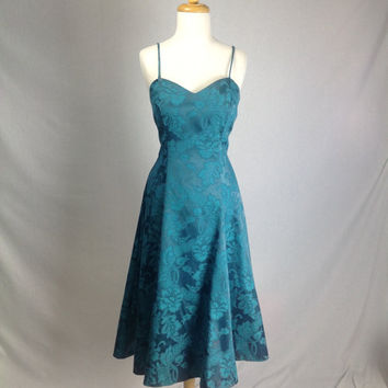 Vintage 80s Teal Green BOMBSHELL Circle Party Dress