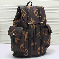 Louis Vuitton LV Fashion Leather Travel Backpack Bookbag Rucksack