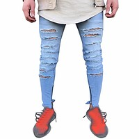 Men's Stretchy Ripped Skinny Destroyed Taped Slim Fit Jeans