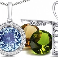 Switch-It Gems(tm) Round 10mm Simulated Aquamarine Pendant with 12 Interchangeable Simulated Birthstones:Amazon:Jewelry