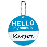 Karson Hello My Name Is Round ID Card Luggage Tag