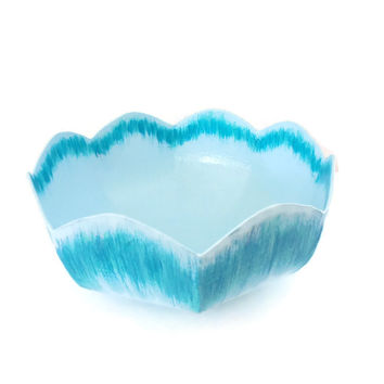 Ikat Petal Bowl, ice blue and turquoise hand painted paper mache bowl