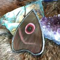 Ouija Planchette Red Moth Butterfly Pendant