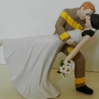 Fireman firefighter dancing bride wedding cake topper Classic ornament keepsake fire dept