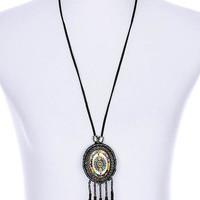 NECKLACE / MICRO BEAD / FAUX LEATHER / EPOXY / METAL BEAD / WOODEN BEAD / SUEDE ROPE / 4 3/4 INCH DROP / 28 INCH LONG / NICKEL AND LEAD COMPLIANT