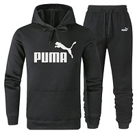 PUMA Trending Women Men Popular Casual Print Hoodie Sweater Pants Sport Set Two-Piece Black