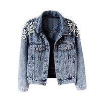 Trendy Top Quality womens Pearls Denim Jacket long sleeved Winter vintage denim Coat Beading Outfit Casacos Feminino Jeans Jacket AT_94_13