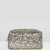 New Look Multi Glitter Half Zip Cosmetic Bag at asos.com