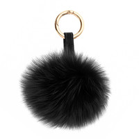 BLACK LUX FOX POM KEY CHAIN