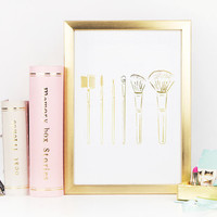 Makeup Brushes, Gold Foil Print, Makeup Print, Fashion Poster, Real Gold Foil,  Bedroom Decor, Gold Foil Makeup Brush Print, Bathroom Decor