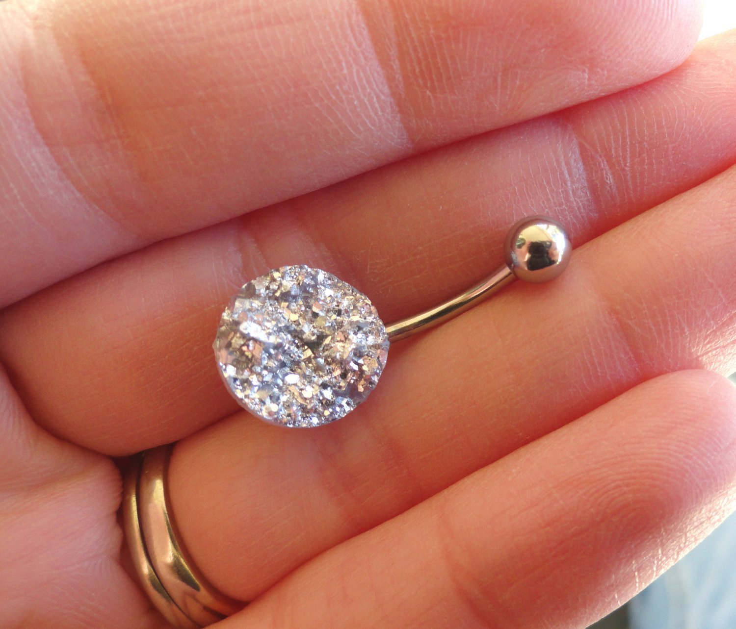 Image of Iridescent Silver Druzy Belly Button Jewelry Ring