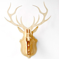 Small Wooden Deer Head Wall Decor