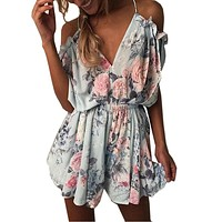 2017 Women print lace Rompers Jumpsuit Short pleated Overalls Jumpsuit Female chest wrapped strapless Playsuit macacao feminino