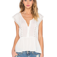 Bishop + Young Side Slit Blouse in Ivory