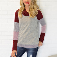 * Cosima L/S Cowl Neck Top  - Grey and Burgundy