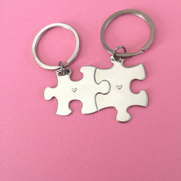 Couples Puzzle Keychains, best friend keychains, Heart Keychains, girlfriend gift , Anniversary Gift