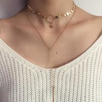Personalized multi Sequin clavicle Necklace 171120