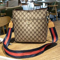 Fashion New Stripe More Letter Leather Shoulder Bag Crossbody Bag Bucket Bag Women