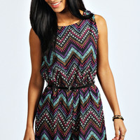 Jade Multi Ethnic Print Sleeveless Playsuit